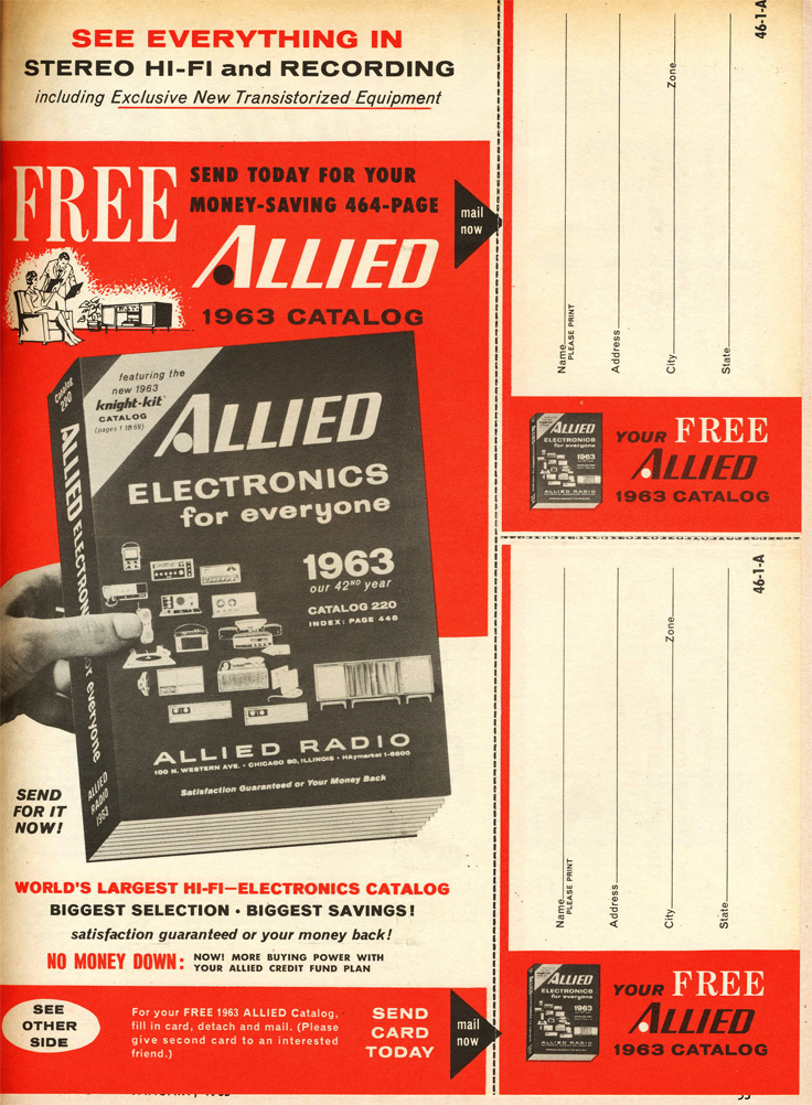 1963 ad for the free Allied Radio catalog in Reel2ReelTexas.com's vintage recording collection