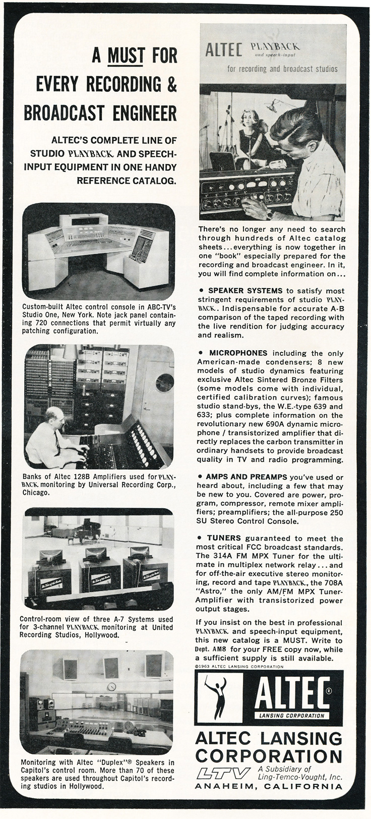 1963 ad for Altec studio equipment in Reel2ReelTexas.com's vintage recording collection