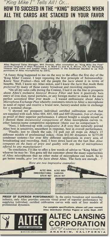 1963 ad for Altec studio microphones  in Reel2ReelTexas.com's vintage recording collection