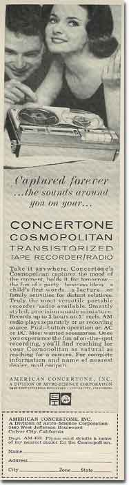 picture of 1963 American Concertone tape recorder ad