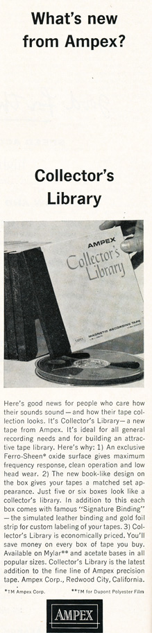 1963 ad for Ampex Collector's Library reel recording tape in Reel2ReelTexas.com's vintage recording collection