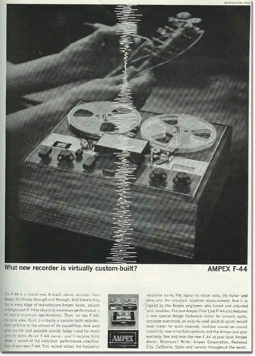 picture of 1963 Ampex F-44 tape recorder ad