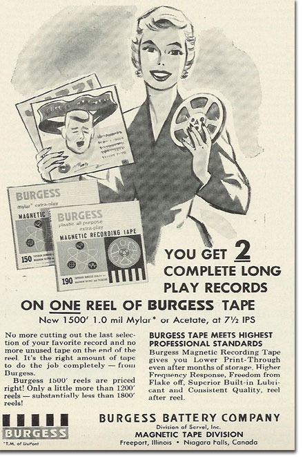 picture of 1963 Burgess recording tape ad
