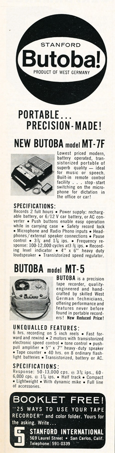 1963 ad for Butoba reel to reel tape recorders in Reel2ReelTexas.com's vintage recording collection