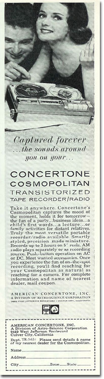 picture of 1963 Concertone reel tape recorder ad