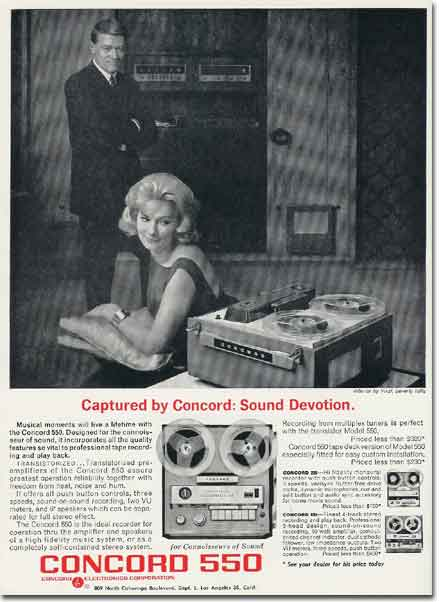 picture of 1963 Concord tape recorder ad