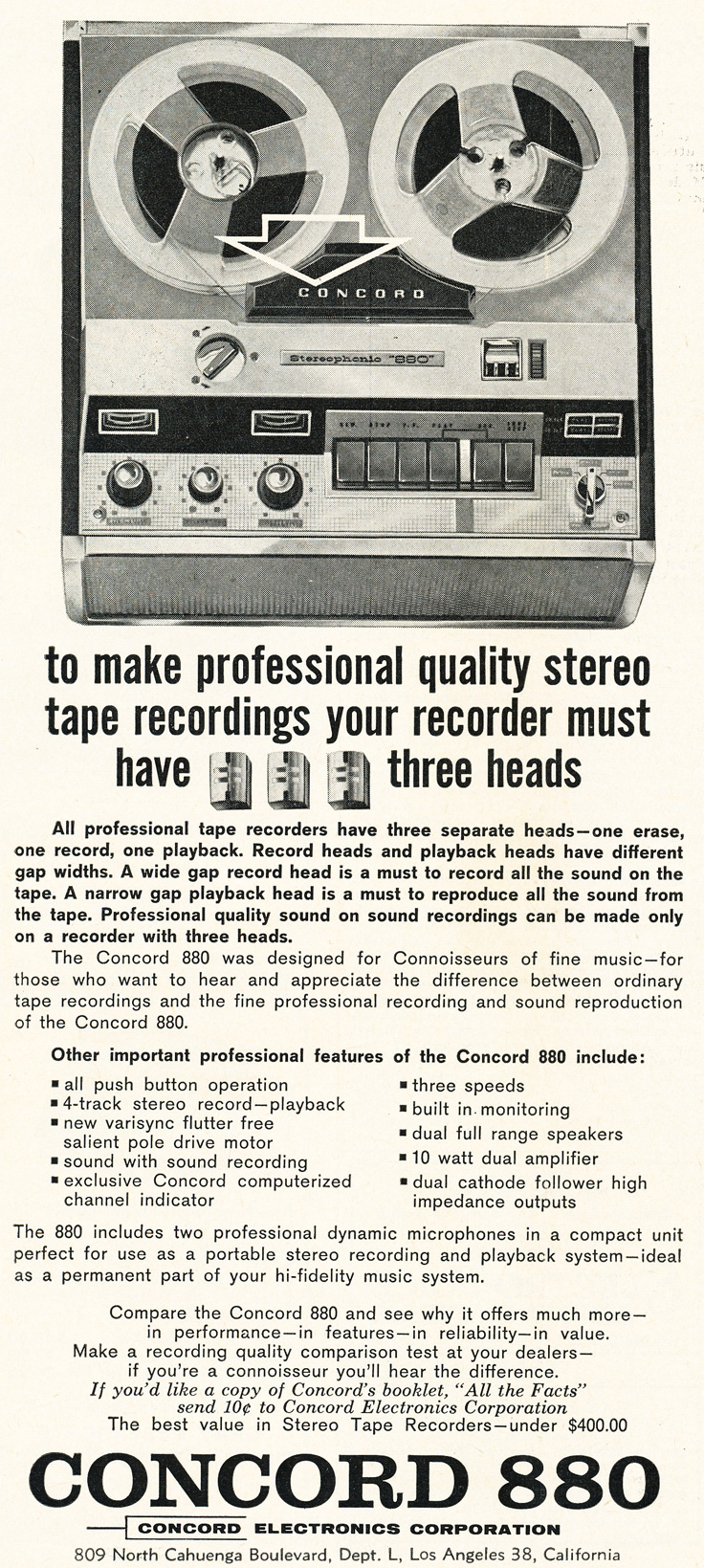 1963 ad for the Concord 880 reel to reel tape recorder in Reel2ReelTexas.com's vintage recording collection