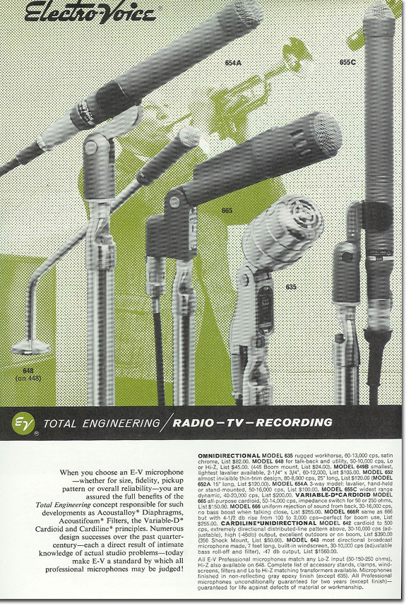 picture od 1963 Electro Voice microphone ad