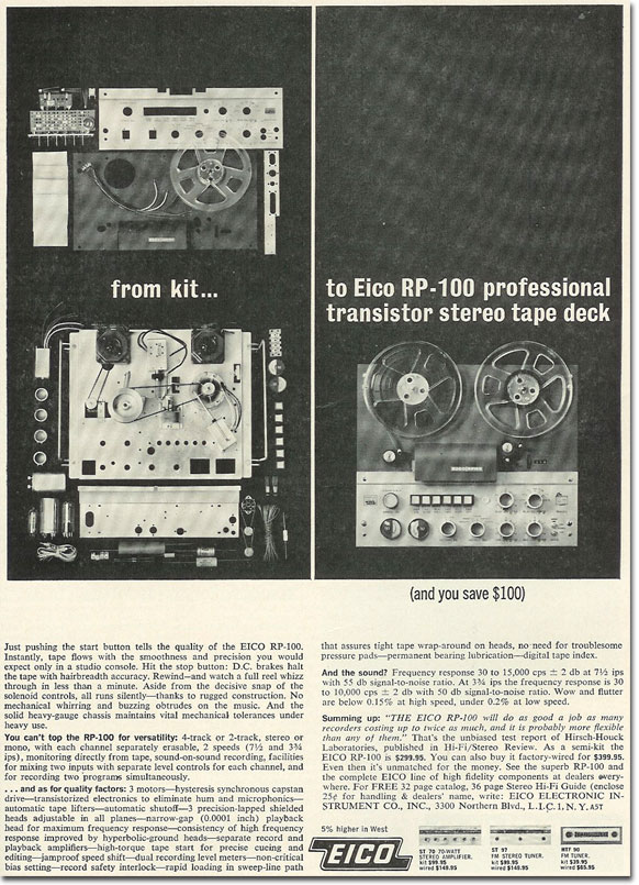 picture od 1963 Eico tape recorder ad