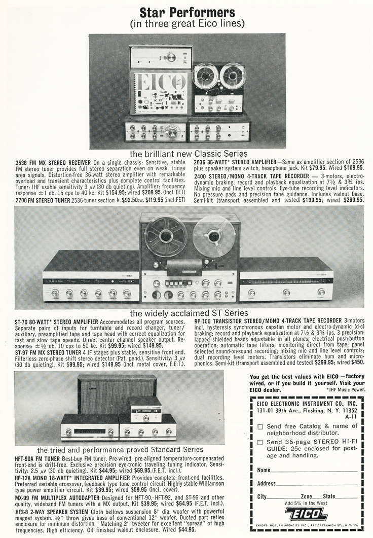 1963 ad for Eico's Model RP-100 reel to reel tape recorder in Reel2ReelTexas.com's vintage recording collection