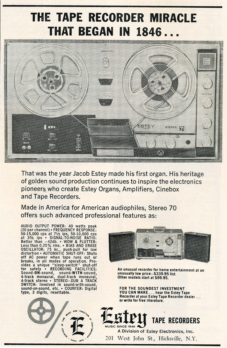 1963 ad for Estey reel to reel tape recorder in Reel2ReelTexas.com's vintage recording collection