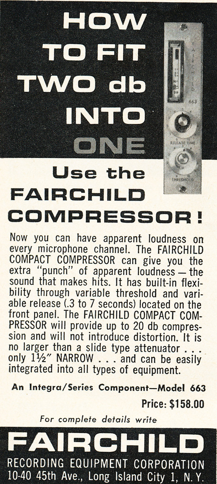 1963 ad for the Failchild compressor component in Reel2ReelTexas.com's vintage recording collection