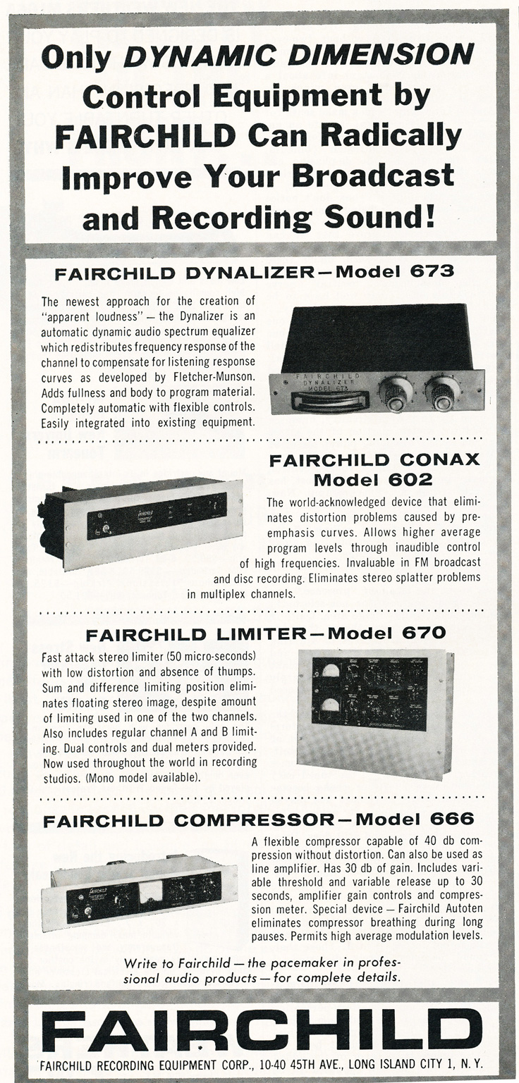 1963 ad for Fairchild recording products in Reel2ReelTexas.com's vintage recording collection