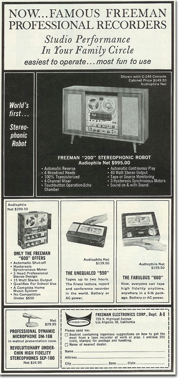 picture od 1963 Freeman tape recorder ad