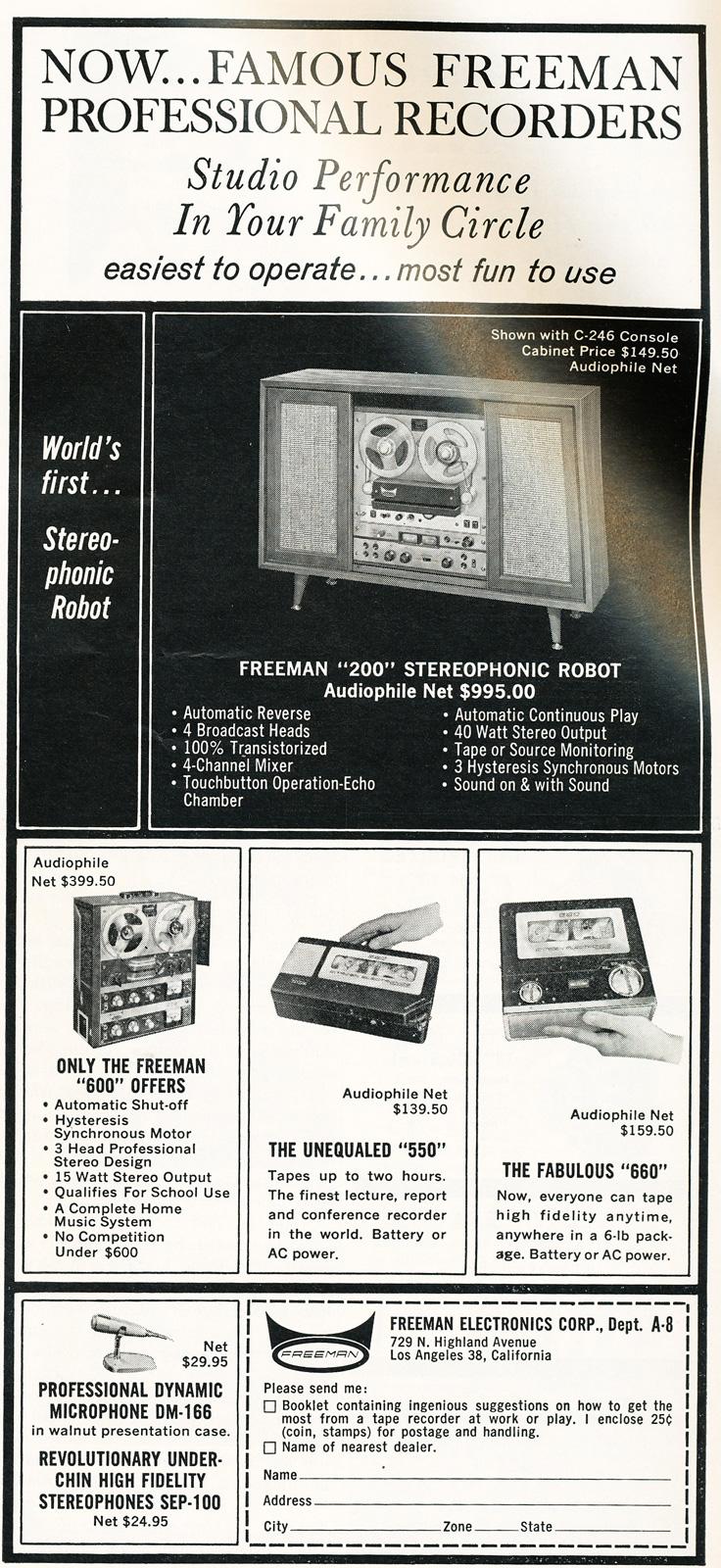 1963 ad for the Freeman reel to reel tape recorders in Reel2ReelTexas.com's vintage recording collection