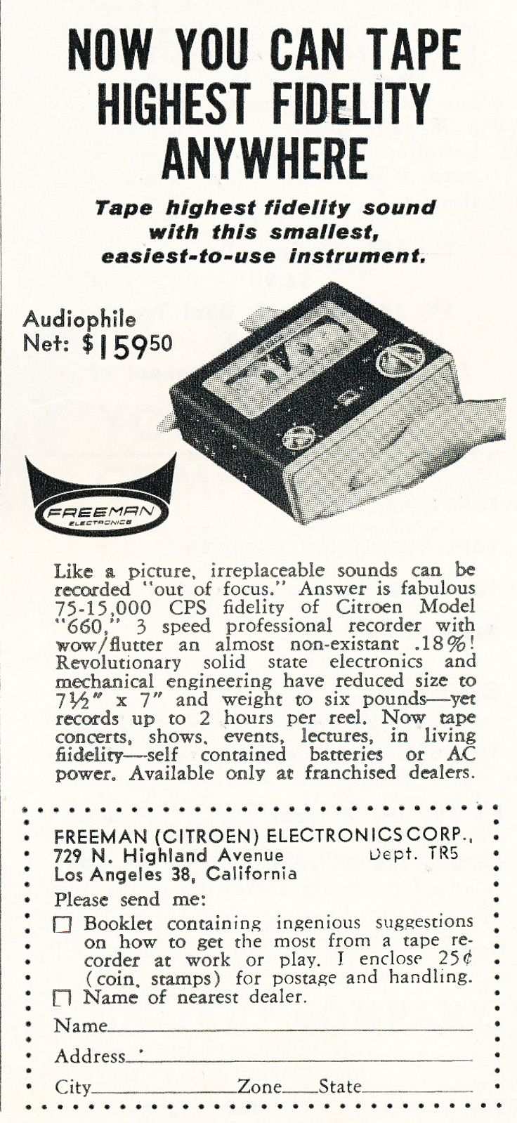1963 ad for Freeman reel to reel tape recorder in Reel2ReelTexas.com's vintage recording collection