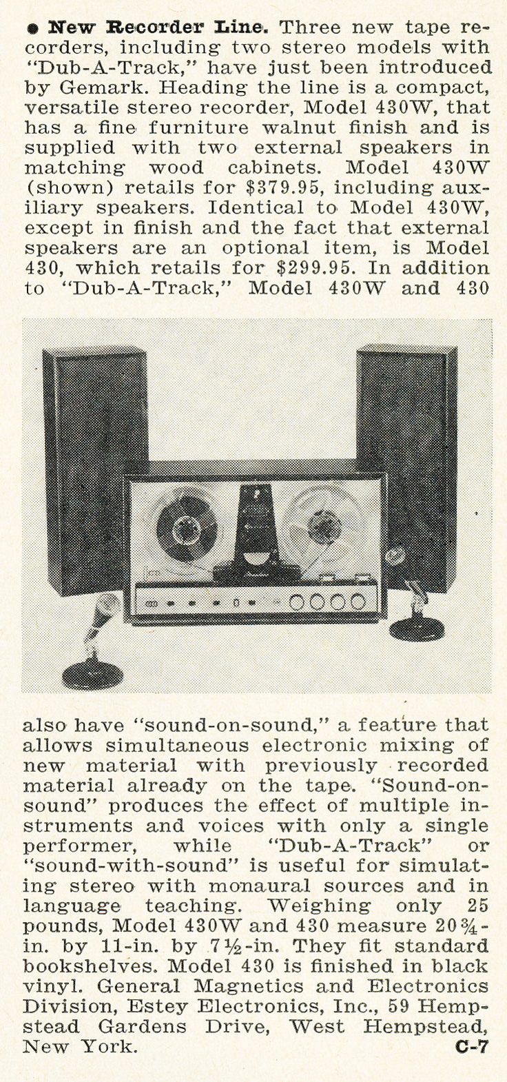 1963 ad for the General magnetics reel to reel tape recorder in   Reel2ReelTexas.com's vintage recording collection