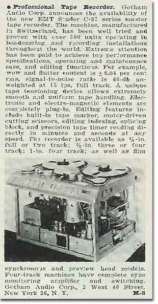 picture of 1963 Gotham tape recorder ad
