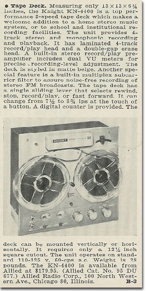 picture od 1963 Knight tape recorder ad