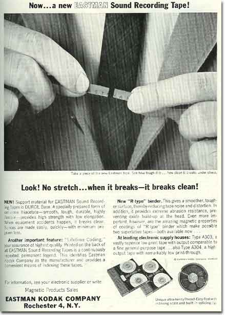 picture of 1963 Kodak recording tape ad