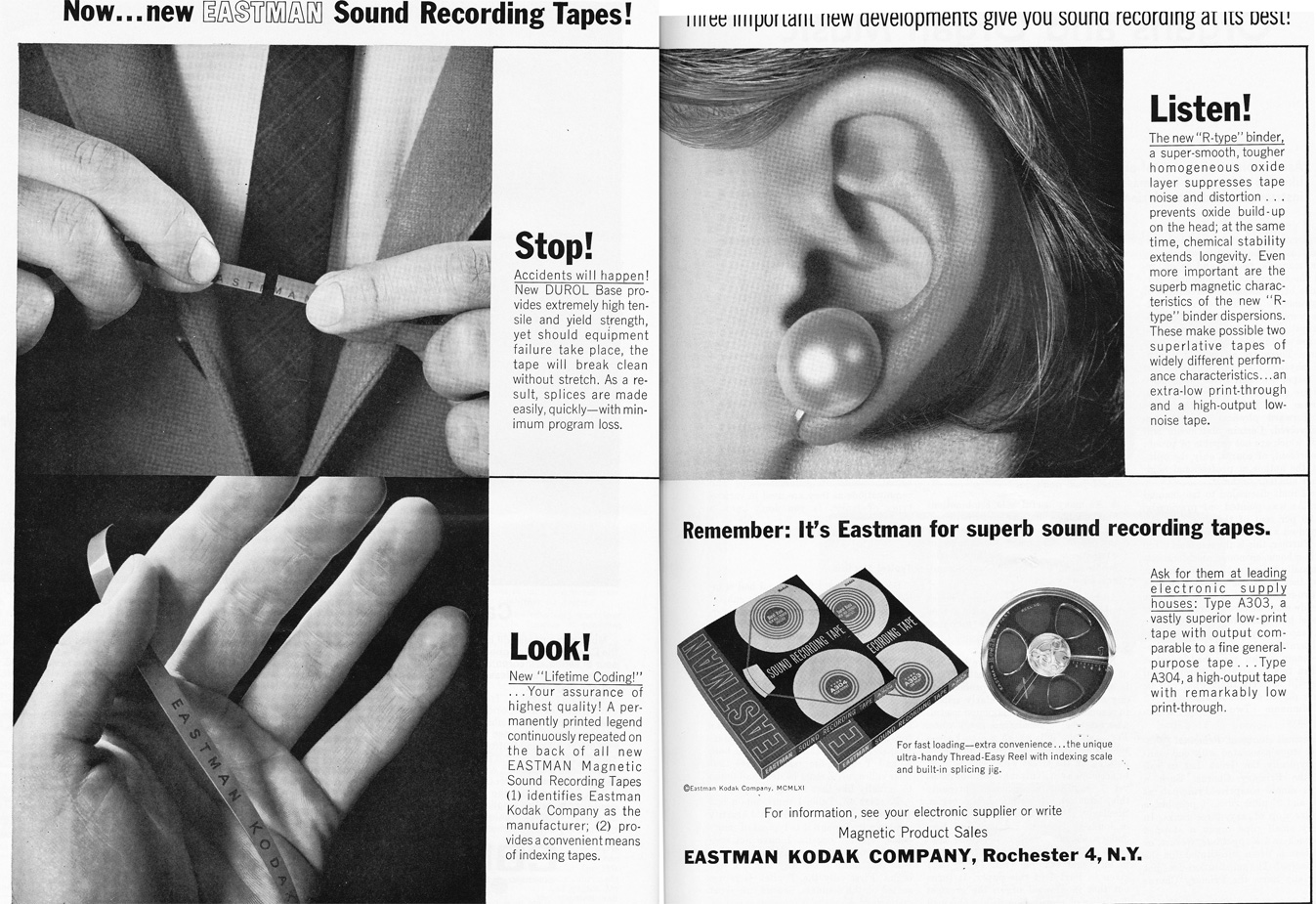 1963 ad for Eastman Kodak reel recording tape in Reel2ReelTexas.com's vintage recording collection
