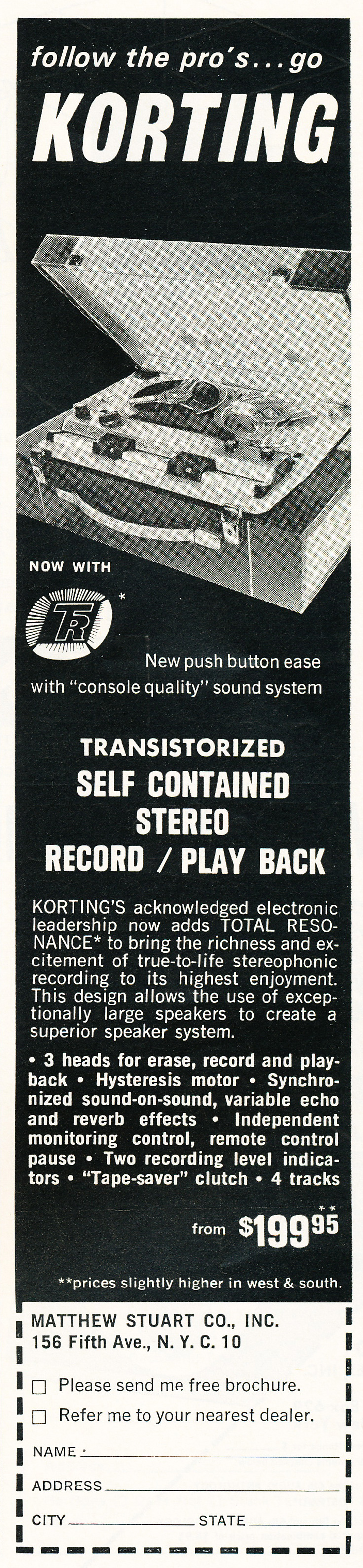 1963 ad for the Korting reel to reel tape recorder in Reel2ReelTexas.com's vintage recording collection