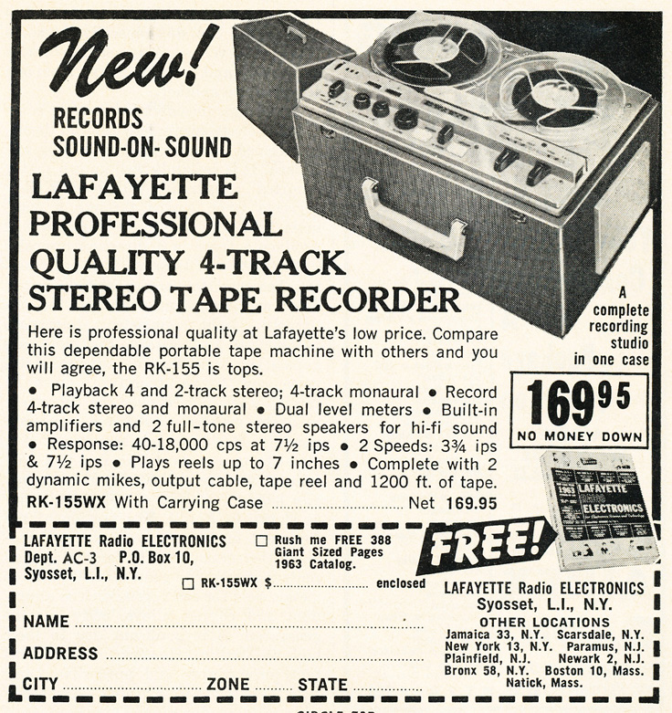 1963 ad for Lafayette Radio reel to reel tape recorders in Reel2ReelTexas.com's vintage recording collection