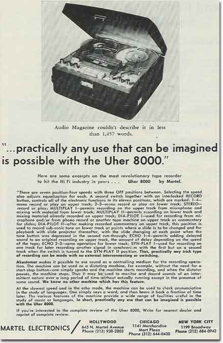 1963 ad for the Martel Uher 8000 reel to reel tape recorder in Reel2ReelTexas.com's vintage recording collection
