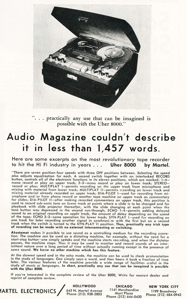 1963 ad for Martel's Uher 8000 reel to reel tape recorder in Reel2ReelTexas.com's vintage recording collection