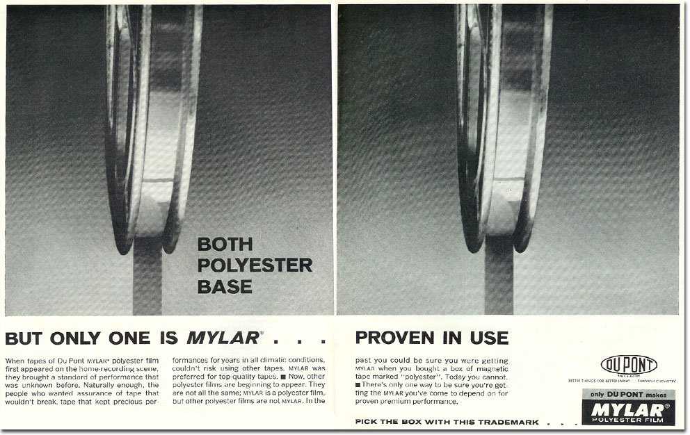 picture of DuPont Mylar reel tape ad