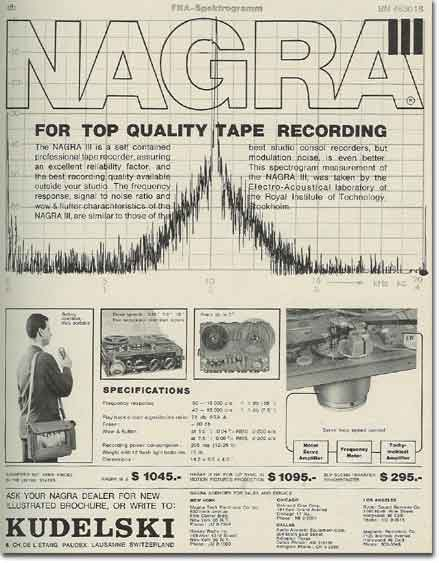 picture of 1963 Nagra tape recorder ad