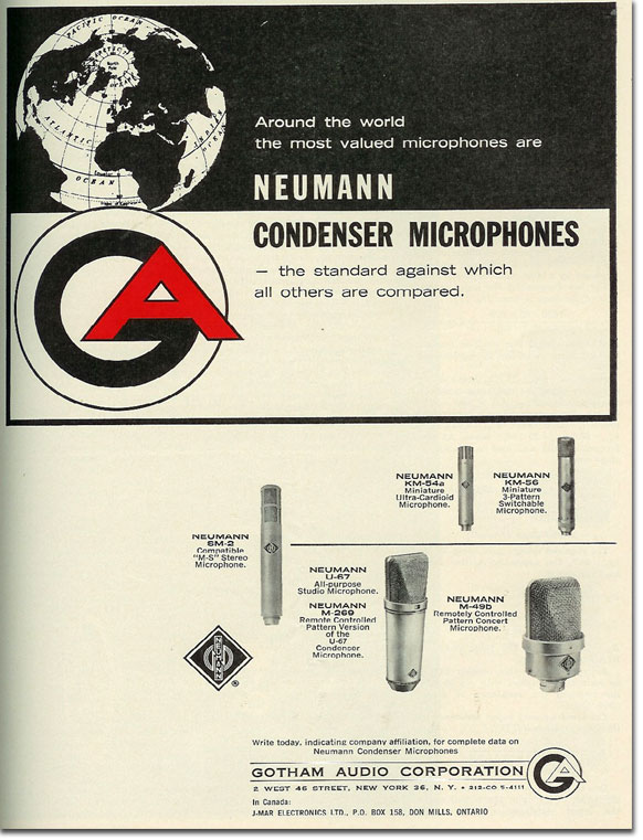 picture od 1963 Neumann microphone ad