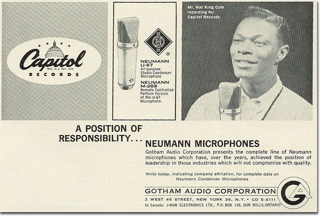 picture od 1963 Neumann microphone ad featuring nat King Cole