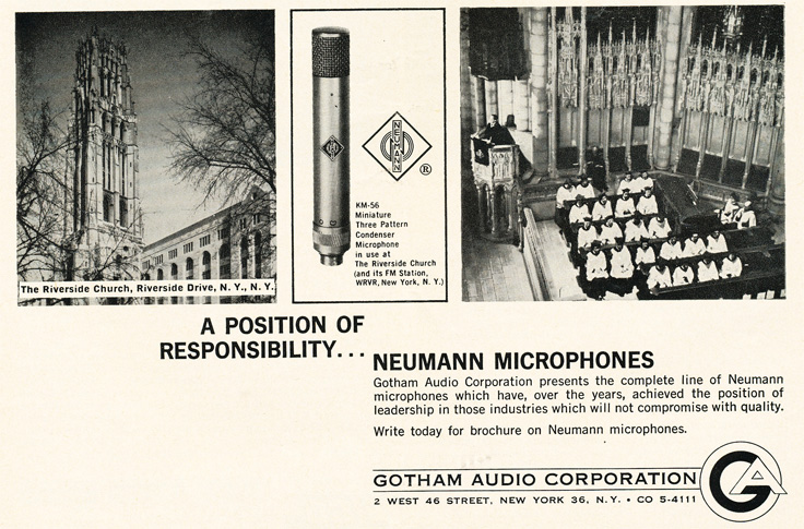 1963 ad for the Neumann professional microphones in Reel2ReelTexas.com's vintage recording collection