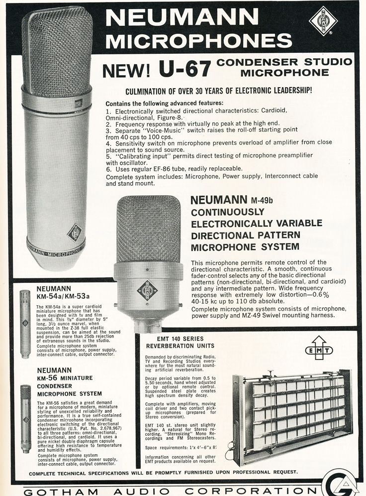 1963 ad for the Neumann U-67 professional microphone in Reel2ReelTexas.com's vintage recording collection
