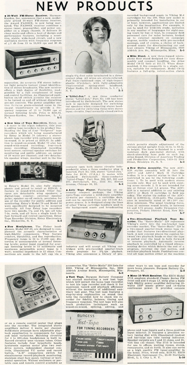 1963 listing of new products in the Audio magazine in Reel2ReelTexas.com's vintage recording collection