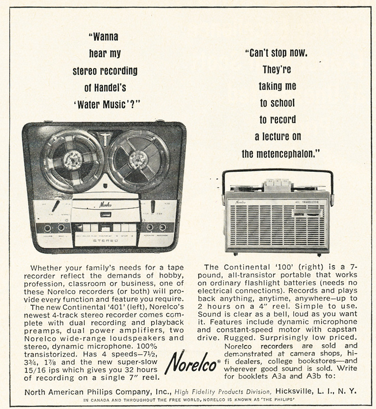 1963 ad for the Norelco 401 and 100 reel to reel tape recorders in Reel2ReelTexas.com's vintage recording collection