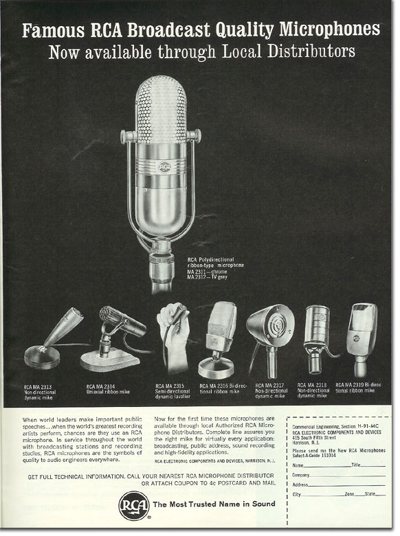 picture of 1963 RCA microphone ad