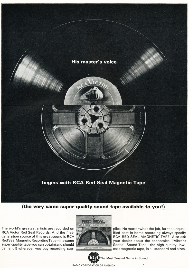 1963 ad for RCA reel to reel recording tape  in Reel2ReelTexas.com's vintage recording collection