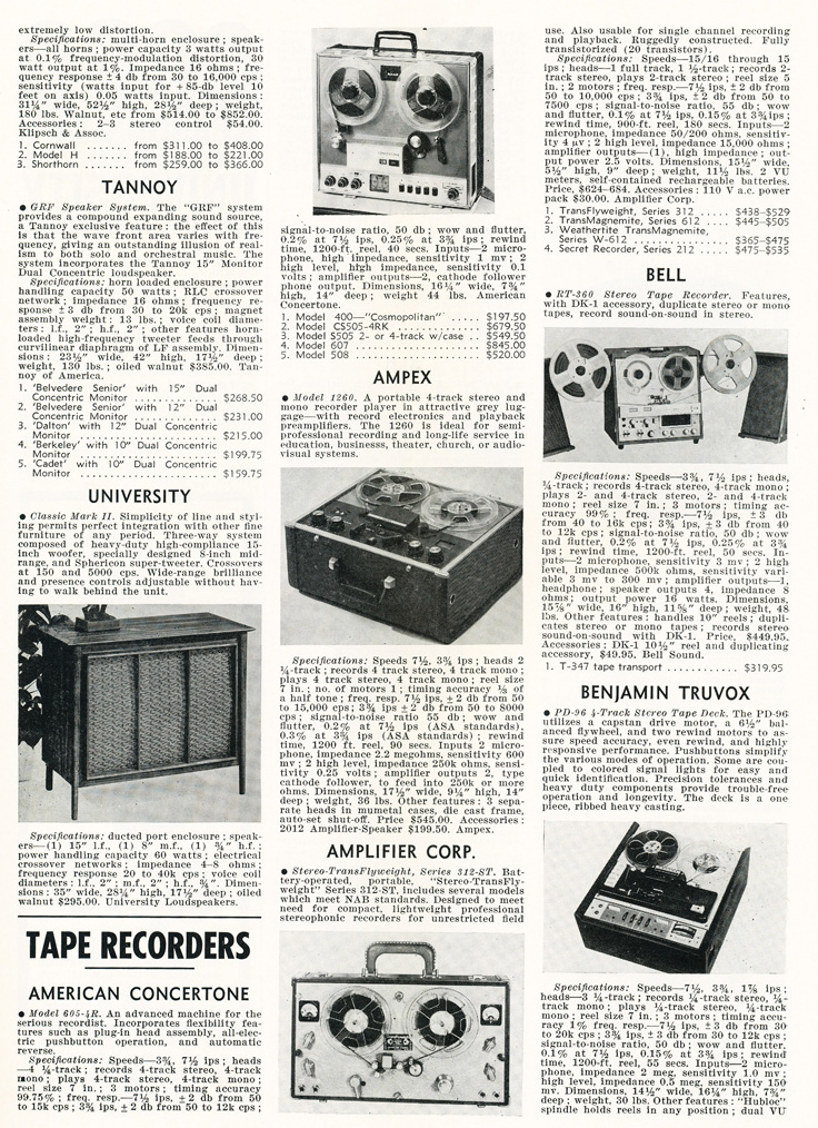 1963 listing of reel to reel tape recorders in the Audio magazine in Reel2ReelTexas.com's vintage recording collection