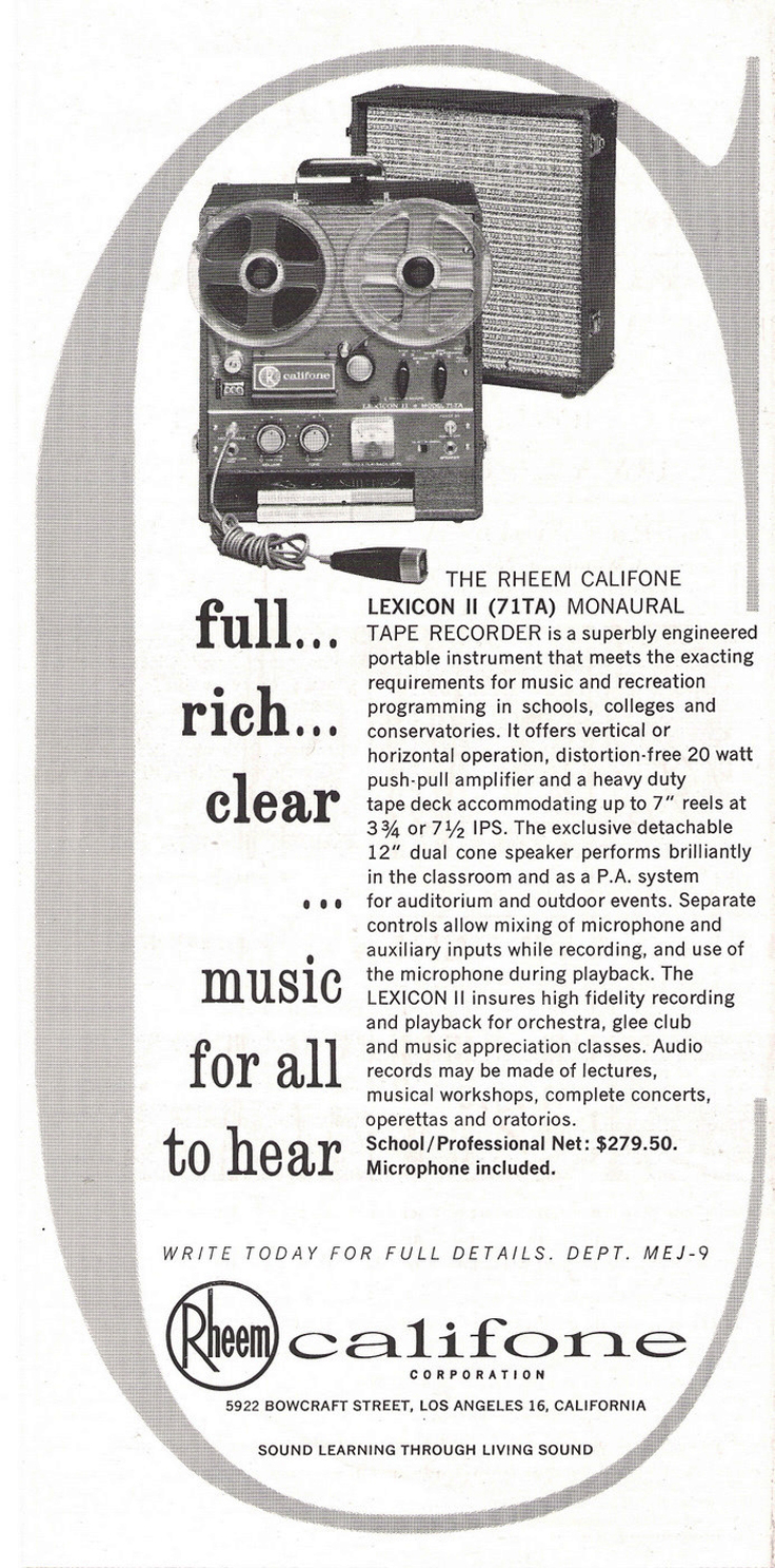 1963 ad for the Rheem Califone Lexicon II reel to reel tape recorder in Reel2ReelTexas.com's vintage recording collection