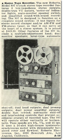 picture of 1963 997 Roberts tape recorder ad