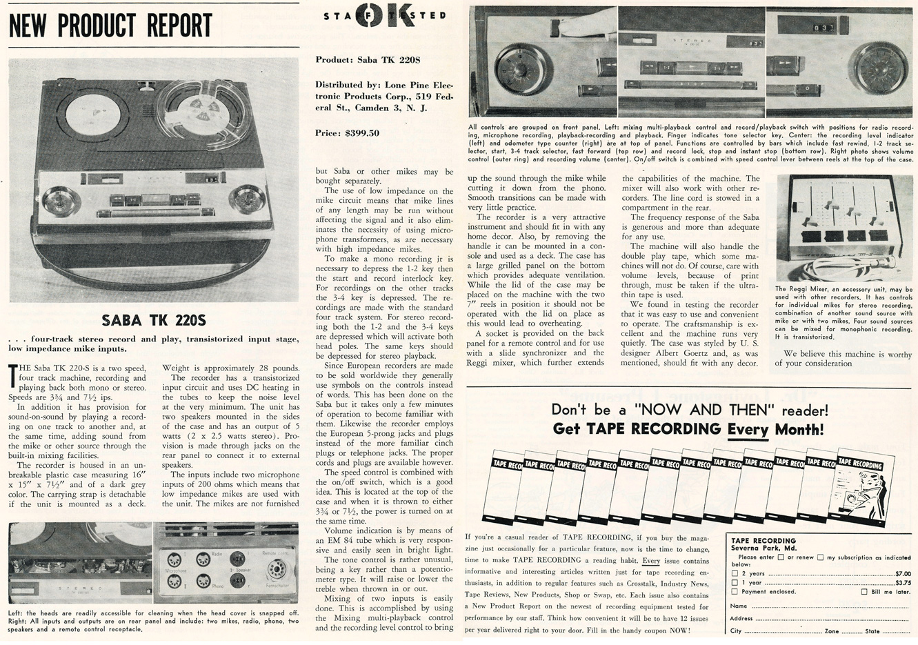 1963 review of the Sada TK 220S reel to reel tape recorder in Reel2ReelTexas.com's vintage recording collection