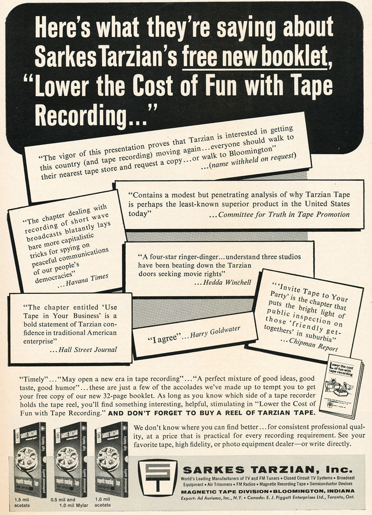 1963 ad for Sarkes Tarzian reel recording tape in Reel2ReelTexas.com's vintage recording collection
