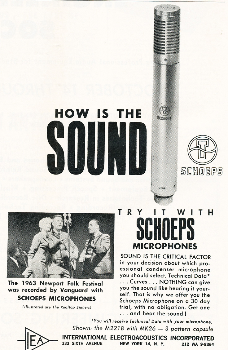 1963 ad for Schoeps microphones in   Reel2ReelTexas.com's vintage recording collection