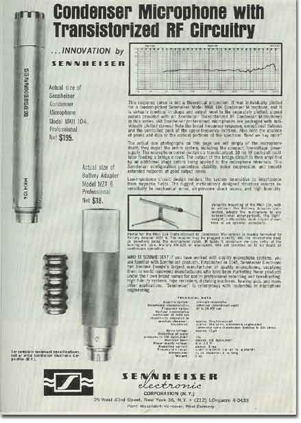 picture of 1963 Sennheiser microphone ad