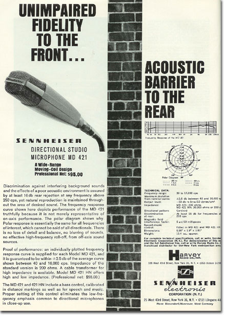 picture of 1963 Sennheiser MD421 microphone ad