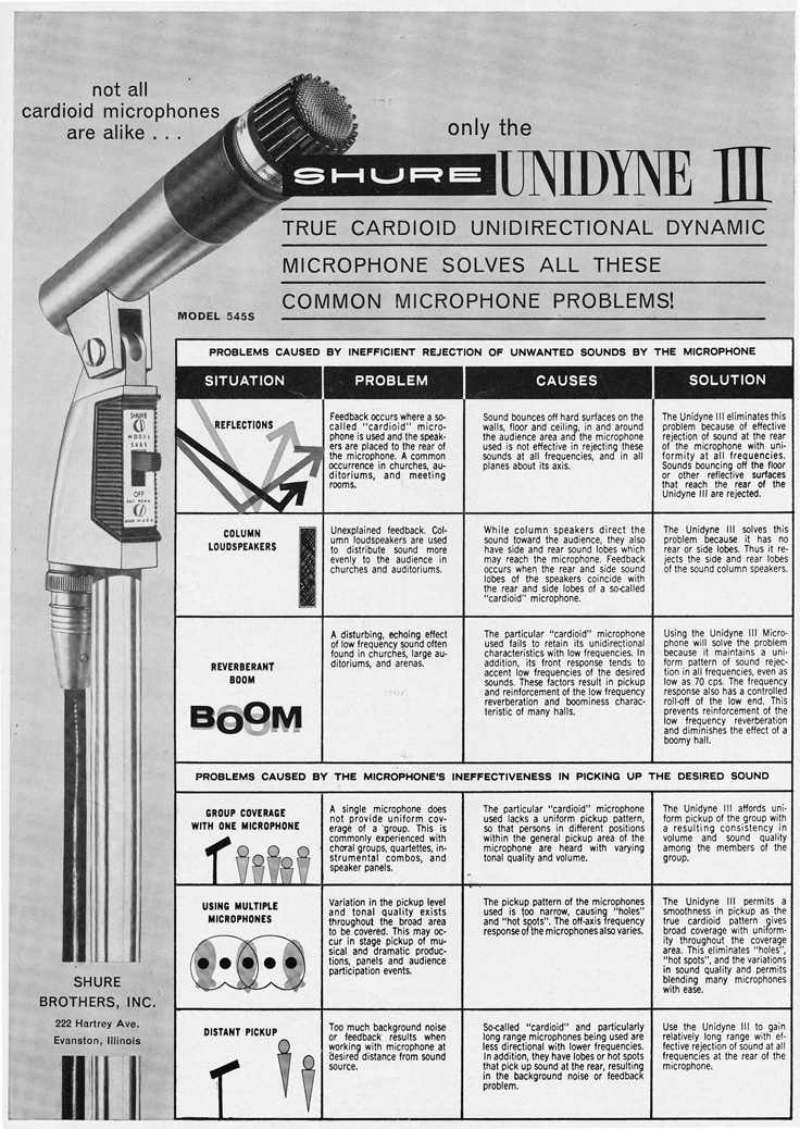 1963 ad for the Shure Unidyne III microphones in   Reel2ReelTexas.com's vintage recording collection