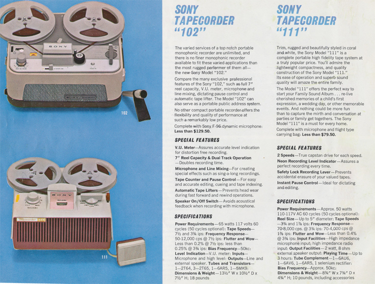 Sony 102 & 111 tape recorders  in 1963 Sony catalog in Phantom Productions' reel tape recorder collection