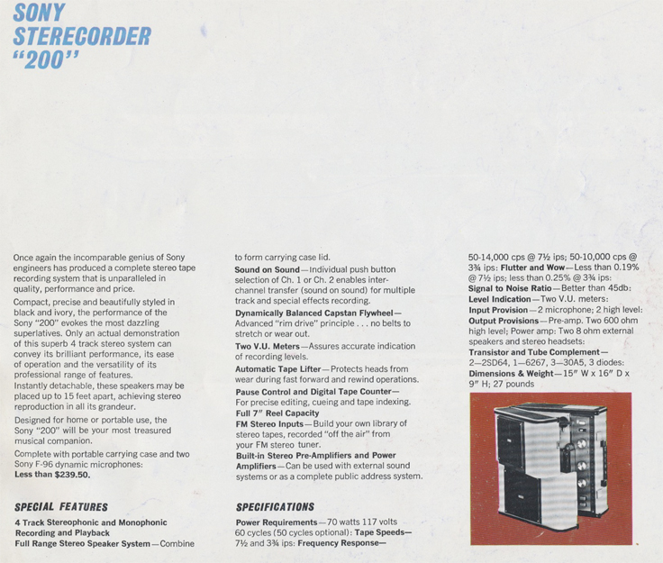Sony 200 specifications in 1963 Sony catalog in Phantom Productions' reel tape recorder collection